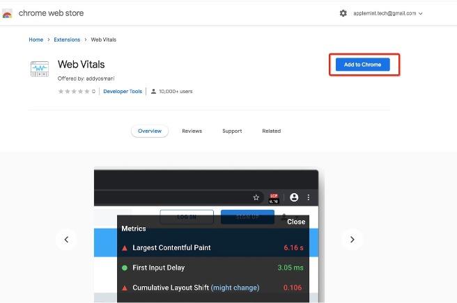 Google Chrome Extension- Web Vitals